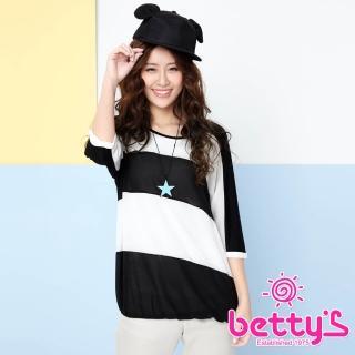 【betty's貝蒂思】跳色條紋飛鼠袖雪紡上衣(黑色)