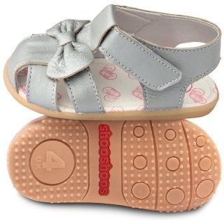 【英國 shooshoos】安全無毒真皮手工涼鞋/童鞋_銀蝴蝶_102025(適合走路穩、可跑跳的寶寶穿)