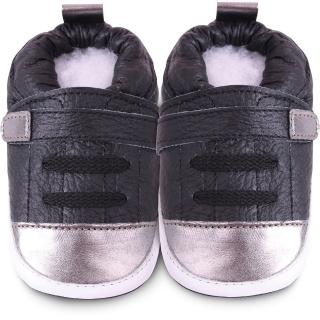 【英國 shooshoos】安全無毒真皮手工鞋/學步鞋_銀黑運動型_101073(適合爬行、搖晃學習走路寶寶)