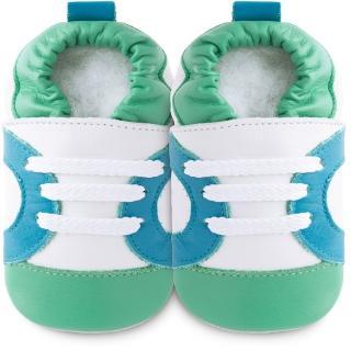 【英國 shooshoos】安全無毒真皮手工鞋/學步鞋_白底/藍綠運動型_102065(適合爬行、搖晃學習走路寶寶)