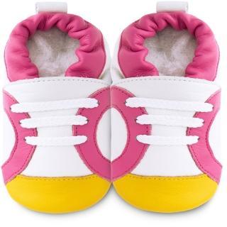 【英國 shooshoos】安全無毒真皮手工鞋/學步鞋_白色/粉黃運動型_102060(適合爬行、搖晃學習走路寶寶)