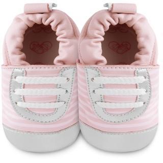 【英國 shooshoos】安全無毒真皮手工鞋/學步鞋_粉銀斑馬紋運動型_101039(適合爬行、搖晃學習走路寶寶)