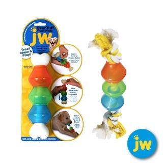 【☆美國JW】益智豆莢骨/益智磨牙棉繩豆莢骨-大(適合中大型犬)