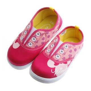 【布布童鞋】Disney迪士尼米妮桃紅色鞋帶孔裝飾束帶休閒鞋(MDS601H)