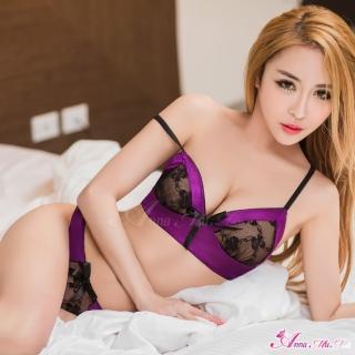 【Anna Mu】情趣睡衣 深紫柔緞鏤空蕾絲二件式內衣組