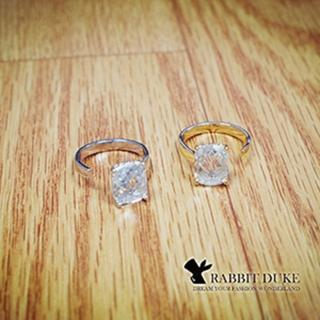【Rabbit Duke】經典歐美風格 個性璀璨大長方形鑽設計戒指