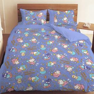 【享夢城堡】三麗鷗 55週年太空風系列-雙人四件式床包兩用被組(粉紅.藍紫)
