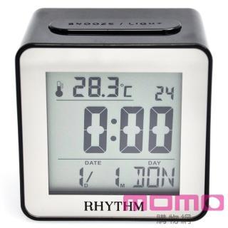 【RHYTHM日本麗聲】時尚造型LED夜光方型電子鐘(時尚素黑)