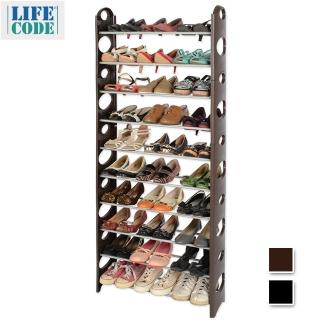 【LIFECODE】可調式-十層鞋架/可放30雙鞋(2色可選)