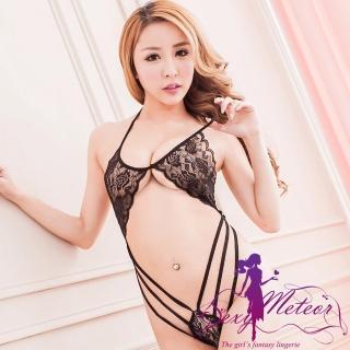 【Sexy Meteor】PA2123全尺碼-魅力塿空蕾絲網紗繞頸一件式連身性感睡衣(性感黑)