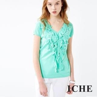 【ICHE 衣哲】荷葉針織上衣 兩色