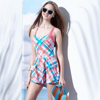 【SAIN SOU】泡湯踏浪SPA大女連身裙泳裝(附泳帽A98642)