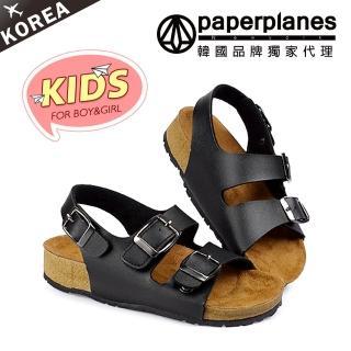 【PAPERPLANES韓國童鞋】正韓空運。經典雙釦帶可調式金屬釦環童涼鞋(7-7756黑/現+預)