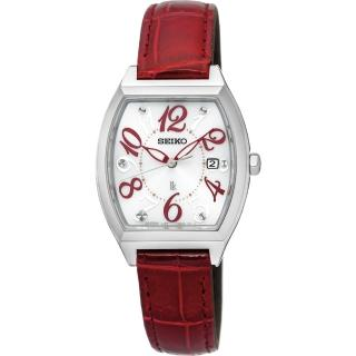 【SEIKO】LUKIA 遇見時刻太陽能女錶-白x紅色錶帶/26mm(V137-0CE0RSUT289J1)