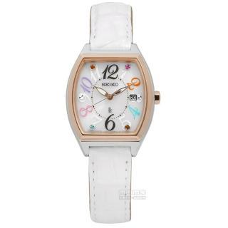 【SEIKO精工】LUKIA 奢華氣質名媛風太陽能鱷魚皮手錶 白x玫瑰金框 25mm(V137-0CE0S.SUT292J1)