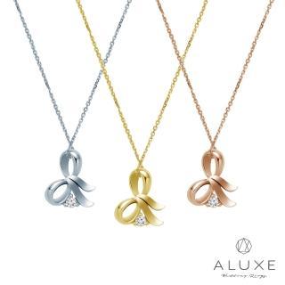 【A-LUXE 亞立詩】Gifts系列 蝴蝶結 黃K金美鑽項鍊