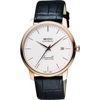 【MIDO】Baroncelli III Heritage 復刻經典機械腕錶-白/41mm(M0274073626000)