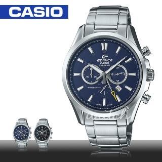 【CASIO 卡西歐 EDIFICE 系列】經典紳士錶款_藍寶石水晶三眼不銹鋼計時男錶(EFB-504JD)
