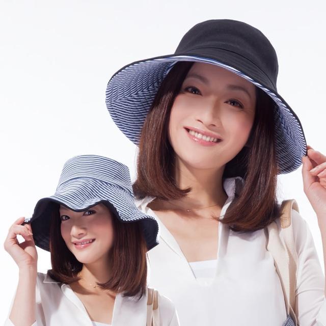 【私心大推】MOMO購物網【日本sunfamily】雙面雙色可折疊海軍風抗UV帽(黑/藍白條紋雙色)評價如何momo首頁