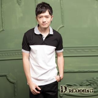 【Dreamming】雙色經典條紋拼接網眼棉質短POLO衫(共三色)