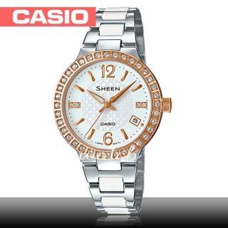 【CASIO 卡西歐 SHEEN 系列】夏日新品_施華洛世奇水晶_不鏽鋼女錶(SHE-4049SG)
