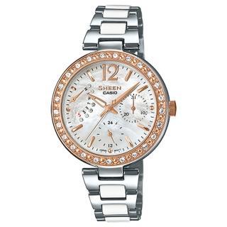 【CASIO 卡西歐 SHEEN 系列】優雅氣質晶鑽錶款_三眼石英不鏽鋼女錶(SHE-3042SG)