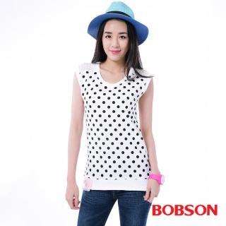 【BOBSON】女款印點點配蕾絲上衣(白26074-80)
