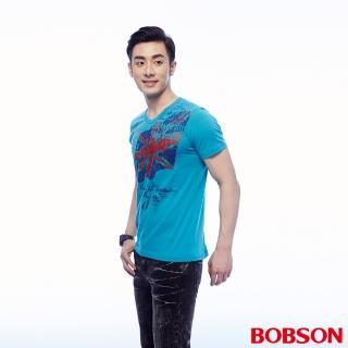 【BOBSON】男款印圖T恤(藍24039-59)