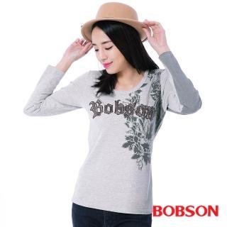 【BOBSON】女款貼布繡漸層印色上衣(灰35126-82)