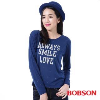 【BOBSON】女款文字搭配星空花上衣(藍35124-54)