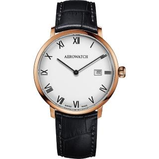 【AEROWATCH】Heritage系列尊爵時尚石英腕錶-白x玫塊金框x黑/40mm(A21976 RO01)