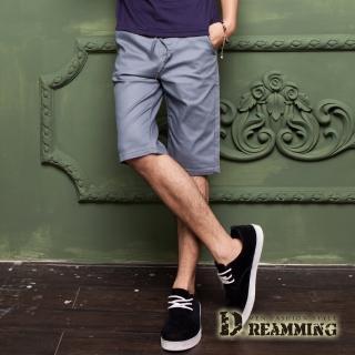 【Dreamming】夏日潮感布標鬆緊抽繩休閒短褲(共五色)