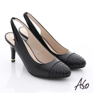 【A.S.O】復古女伶 牛皮拼接編織紋高跟涼鞋(黑)