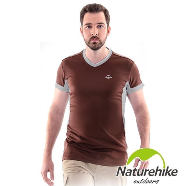 【Naturehike-NH】速乾排汗m0m0電視購物V領短袖機能服 男款(巧克力棕)