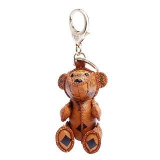 【MCM】經典VISETOS小熊造型塗層帆布鑰匙圈/吊飾(橘5AVI36-CO001)