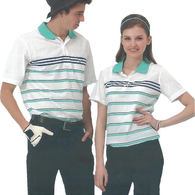 【日本名牌Kawasaki】男女電腦條紋運動休閒短POLmomo電視購物O衫(白綠條紋)