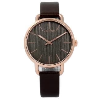 【Calvin Klein】EVEN 沉靜雅緻岩紋皮革手錶 灰x玫瑰金框x深褐 36mm(K7B236G3)