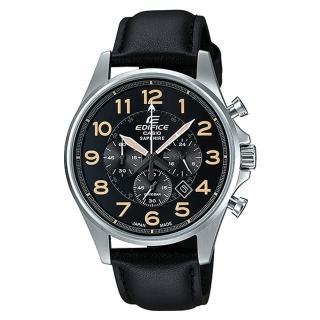 【CASIO 卡西歐 EDIFICE 系列】尊爵紳士錶款_藍寶石水晶_三眼計時 石英皮革男錶(EFB-508JL)