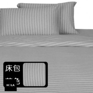 HOLA home自然針織條紋床包 單人 經典淺灰