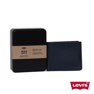 【Levis】男款牛皮短夾-藏藍色