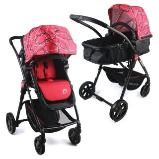 【BabyBabe】超輕量歐式高景觀嬰幼兒手推車(圈圈紅)