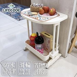 【LIFECODE】《悠活》二層可移動茶水桌(筆電桌/餐車)