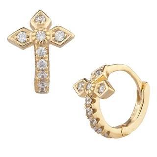 【SHASHI】美國品牌 Gia Huggie925純銀鑲18K金小圓耳環(鑲鑽英式十字架)
