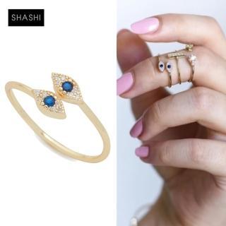 【SHASHI】紐約品牌 EVIL EYE 925純銀鑲18K金戒指白鑽X藍鑽(智慧之眼可調式)