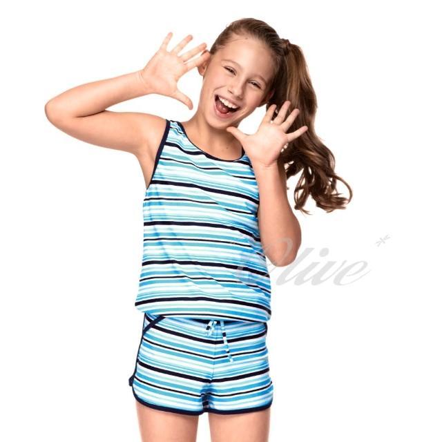 【真心勸敗】MOMO購物網【聖手品牌】亮彩條紋款式女童二件式連身褲泳裝(NO.A82418)推薦momo台電話