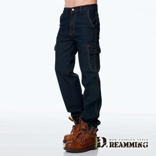 【Dreamming】美式伸縮多口袋直筒牛仔工作褲(黑色)