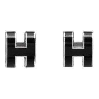 【HERMES】經典立體H LOGO簍空橢圓穿式耳環(黑X銀H608001F-NOIR-ARG)