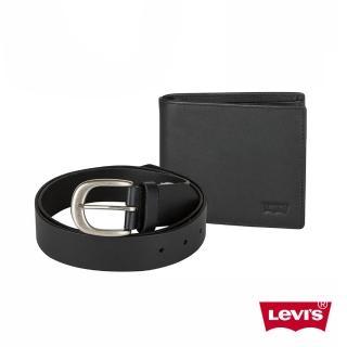 【Levis】男款針扣皮帶皮夾禮盒組-黑色