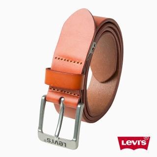 【Levis】男款Logo 牛皮針扣皮帶-駝棕色