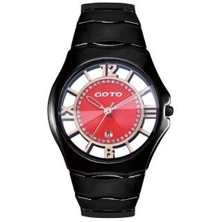【GOTO】羅馬戀曲晶鑽陶瓷裸空時尚手錶-紅/39mm(GC1022M-33-541)